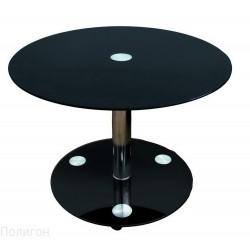 Журнальный стол Рекорд-5П круг хром чёрный
