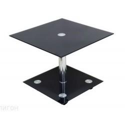 Журнальный стол Рекорд-5П квадрат хром чёрный